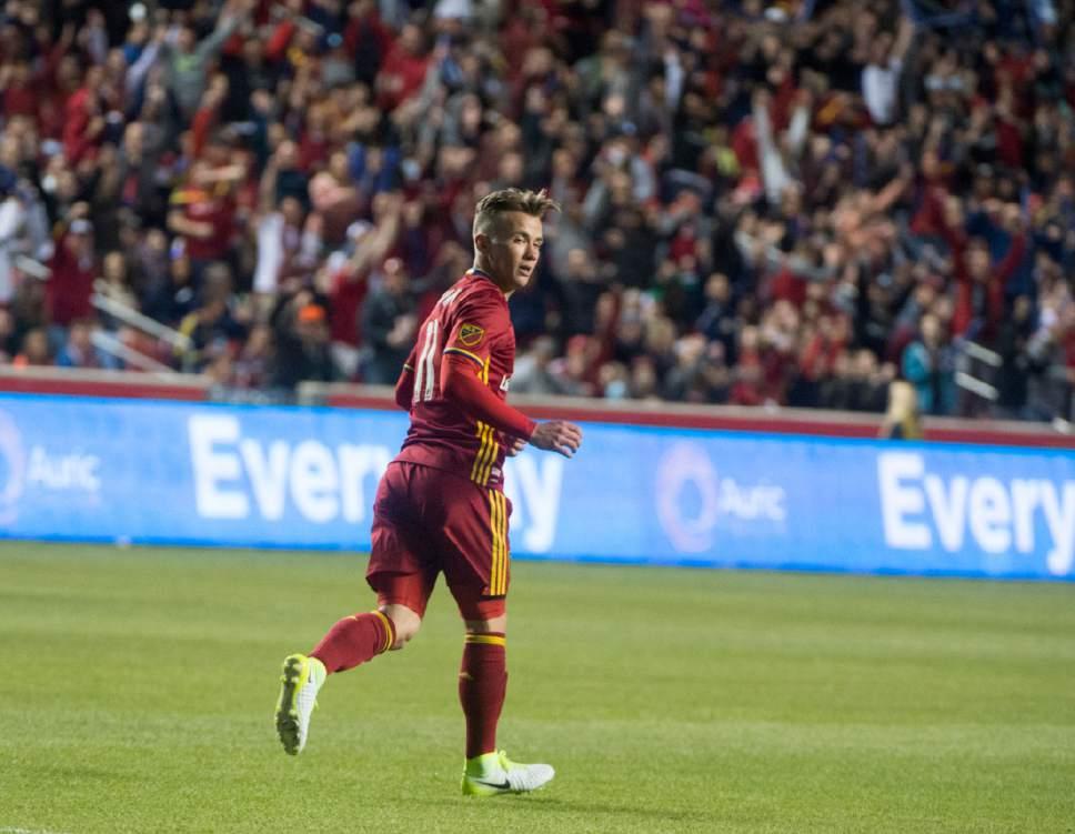Rick Egan  |  The Salt Lake Tribune  Midfielder Albert Rusnak (11) the only goal of the night for Real Salt Lake, in MLS action, Real Salt Lake Vs. Atlanta United, at Rio Tinto Stadium, Wednesday, April 22, 2017.