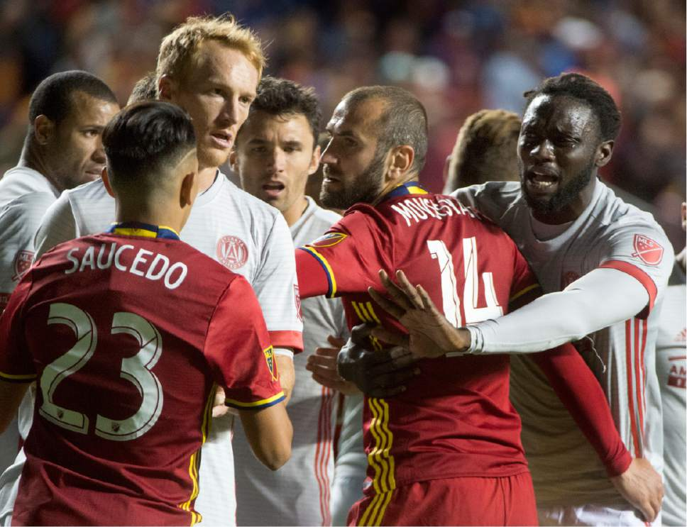 Rick Egan  |  The Salt Lake Tribune  Real Salt Lake players jockey for position with Atlanta United before a penalty kick, in MLS action, Real Salt Lake Vs. Atlanta United, at Rio Tinto Stadium, Wednesday, April 22, 2017.
