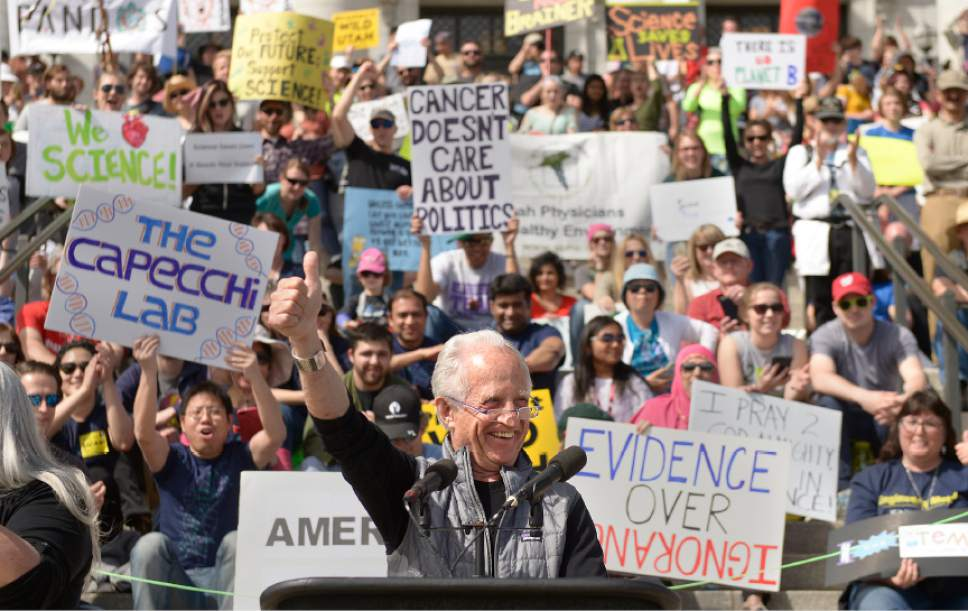 Leah Hogsten  |  The Salt Lake Tribune  Nobel Prize winner Mario Capecchi fires up the crowds on Saturday in celebration of Earth Day. March for Science Salt Lake City and other leading scientific, academic, and educational institutions and organizations from Utah strolled up State Street to the Utah Capitol to highlight the benefit of science within society, and to encourage legislators to use evidence-based science in the policy-making process.