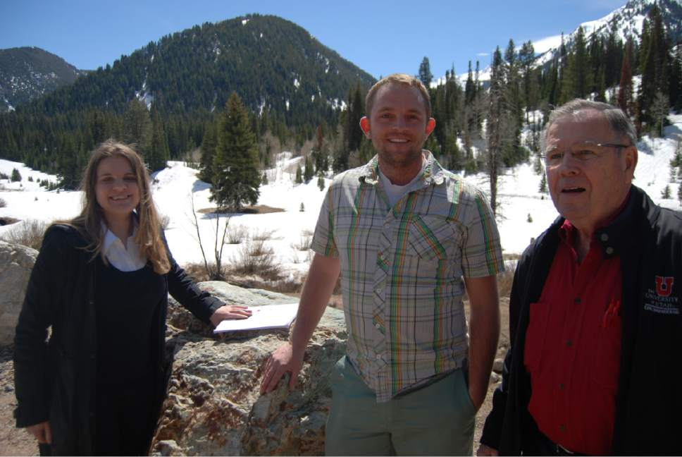 Brian Maffly  |  The Salt Lake Tribune  U. students Katherine Colburn and Brian Naylor and engineering professor David Eckhoff helped develop a plan for managing parking and bathrooms at Cardiff Fork, pictured here, and other busy spots in Big Cottonwood Canyon.