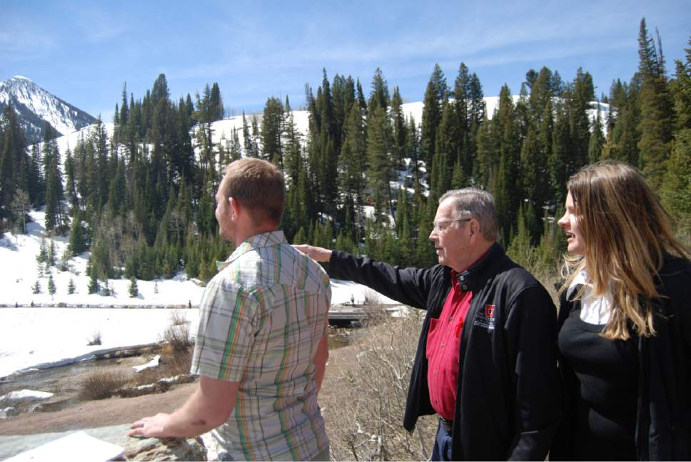 Brian Maffly  |  The Salt Lake Tribune  U. student Brian Naylor, engineering professor David Eckhoff and student Katherine Colburn helped develop a plan for managing parking and bathrooms at Cardiff Fork, pictured here, and other busy spots in Big Cottonwood Canyon.