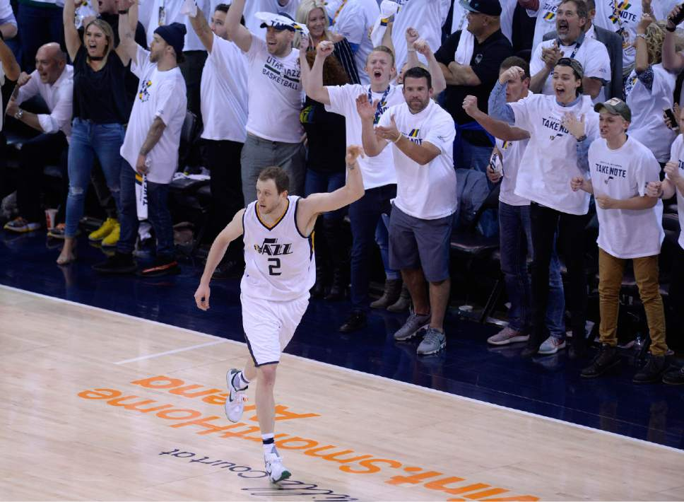 Scott Sommerdorf | The Salt Lake Tribune Utah Jazz forward Joe Ingles (2) celebrates a made 3-pointer late in the game. The Utah Jazz beat the LA Clipper 105-98 to take Game 4 and tie up the Western Conference playoff series at 2-2, Sunday, April 23, 2017.