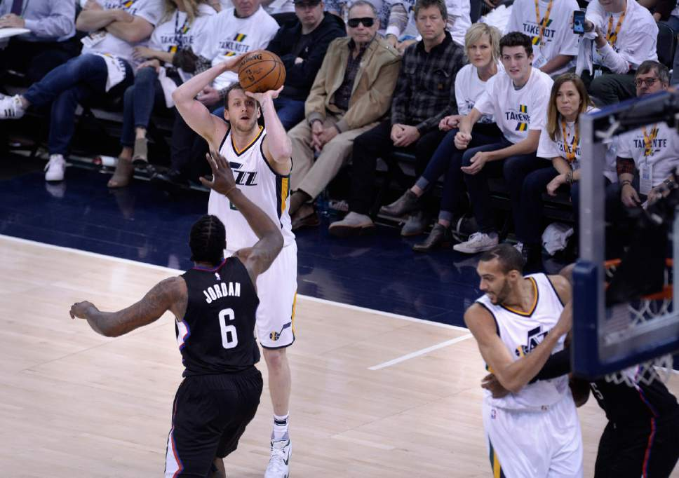 Scott Sommerdorf | The Salt Lake Tribune Utah Jazz forward Joe Ingles (2) squares up for a 3-point attempt during first quarter play. The Utah Jazz trailed the LA Clipper 26-24 at the end of the first period of Game 4 of the Western Conference playoffs, Sunday, April 23, 2017.