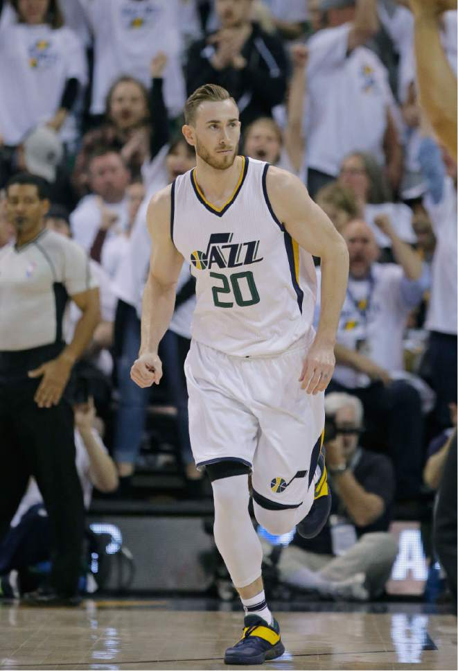 Utah Jazz forward Gordon Hayward (20) runs up court after scoring against the Los Angeles Clippers during the first half in Game 4 of an NBA basketball first-round playoff series Sunday, April 23, 2017, in Salt Lake City. (AP Photo/Rick Bowmer)