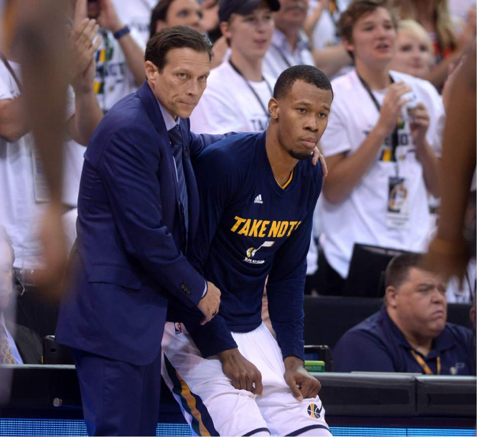 Steve Griffin  |  The Salt Lake Tribune   Utah Jazz head coach Quin Snyder gets Utah Jazz guard Rodney Hood (5) ready to enter the game during the Jazz versus Clippers NBA playoff game at Viviint Smart Home arena in Salt Lake City Sunday April 23, 2017.