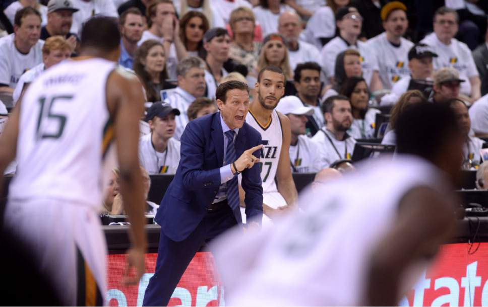 Steve Griffin  |  The Salt Lake Tribune   Utah Jazz head coach Quin Snyder screams support during the Jazz versus Clippers NBA playoff game at Viviint Smart Home arena in Salt Lake City Sunday April 23, 2017.