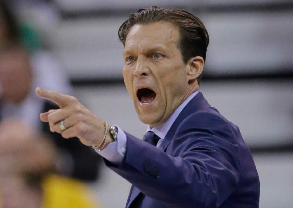 Utah Jazz head coach Quin Snyder shoots to his team during the first half in Game 4 of an NBA basketball first-round playoff series against the Los Angeles Clippers, Sunday, April 23, 2017, in Salt Lake City. (AP Photo/Rick Bowmer)