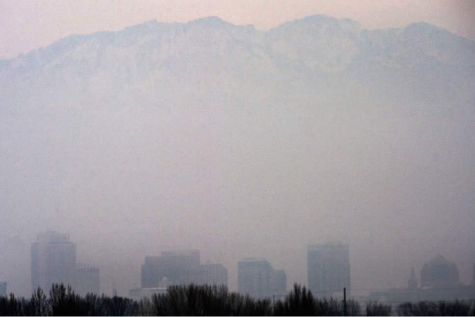 Steve Griffin / The Salt Lake Tribune  The Salt Lake City skyline is visible through the hazy air in Salt Lake City Tuesday January 31, 2017.