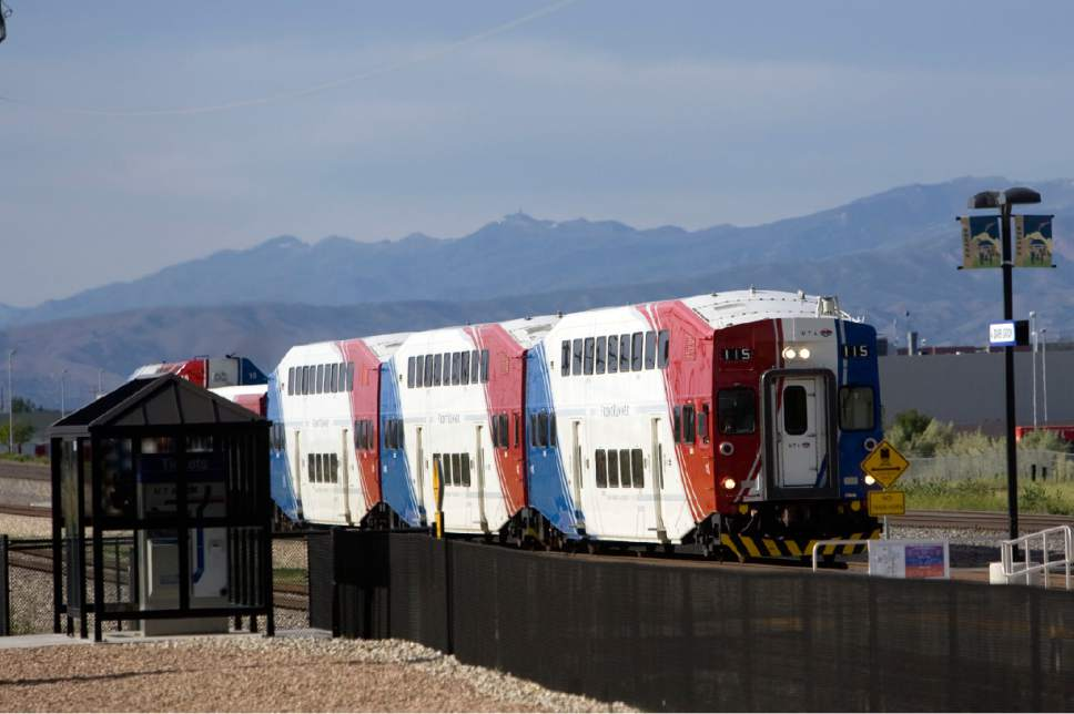 Tribune File Photo A southbound UTA FrontRunner train arrives at the Draper Station in 2013.