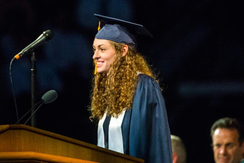 Chris Detrick  |  The Salt Lake Tribune Alicia Kristine Stanton speaks during the Commencement Services at the Marriott Center Thursday April 21, 2016.