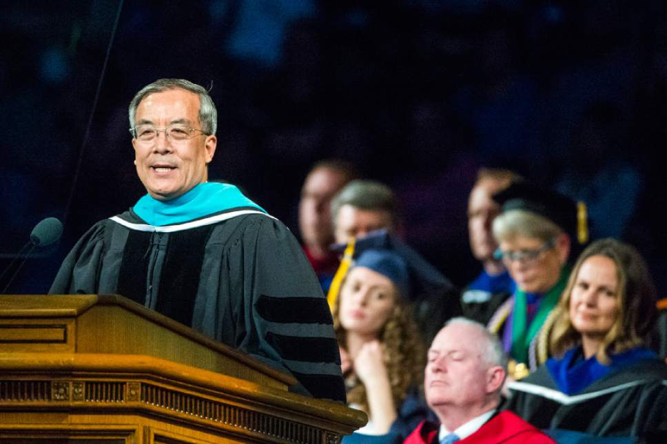 Chris Detrick  |  The Salt Lake Tribune Ambassador Su Ge speaks during the Commencement Services at the Marriott Center Thursday April 21, 2016.