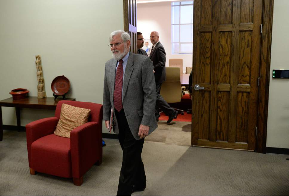Francisco Kjolseth | The Salt Lake Tribune University of Utah President David Pershing emerges from a board of trustees closed executive session following discussions over the recent firing of Dr. Mary Beckerle, the CEO and director of the Huntsman Cancer Institute. A decision on her possible reinstatement is expected later in the day on Tuesday, April 25, 2017.