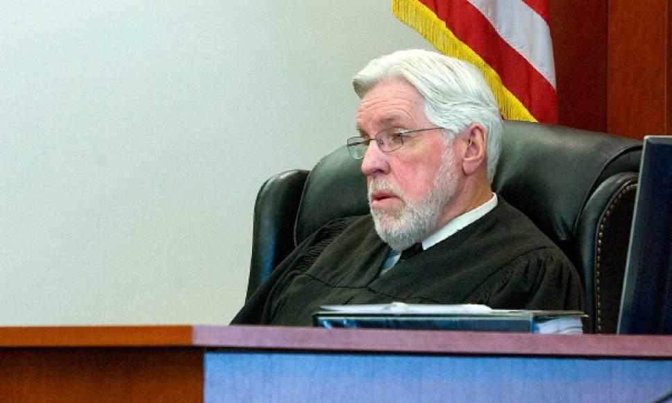(POOL PHOTO) Paul Fraughton     The Salt Lake Tribune Judge Robert Hilder presides over a criminal court case on June 6, 2011, at the Matheson Courthouse in Salt Lake City.
