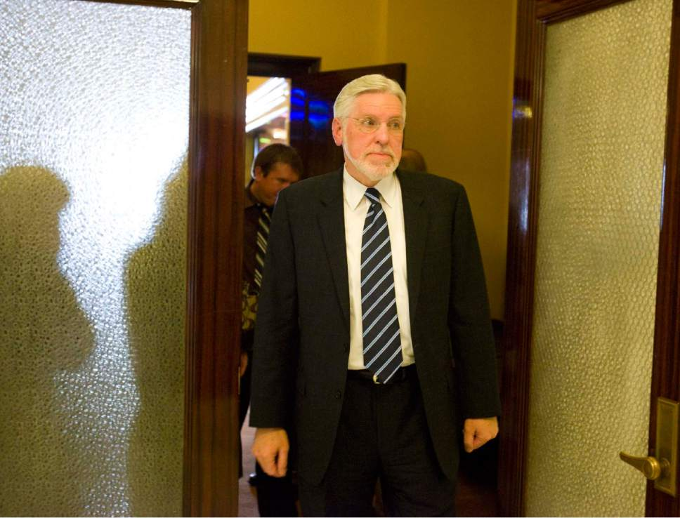    Tribune File Photo  Judge Robert Hilder walks  out the door of the senate chambers at the state capitol on Wednesday, November 19, 2008 after the senate failed to confirm his appointment to the Utah Court of Appeals.