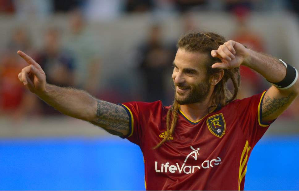 Leah Hogsten  |  The Salt Lake Tribune On the night Real Salt Lake won the Rocky Mountain Cup,in the 88th minute, Real Salt Lake midfielder Kyle Beckerman became the all time minutes played leader in MLS history. Real Salt Lake defeated the Colorado Rapids 2-1 during their Rocky Mountain Championship Cup game at Rio Tinto Stadium Friday, August 26, 2016.