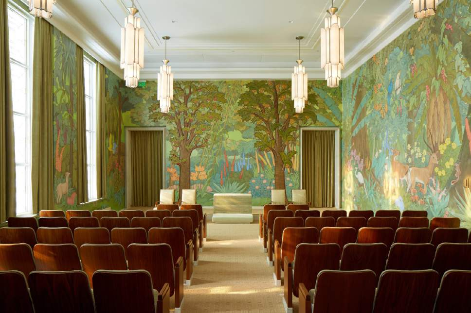 Photo courtesy LDS Church The garden room in the Idaho Falls Idaho Temple. This room serves to teach Latter-day Saints about the beginning of life with Adam and Eve in the Garden of Eden.
