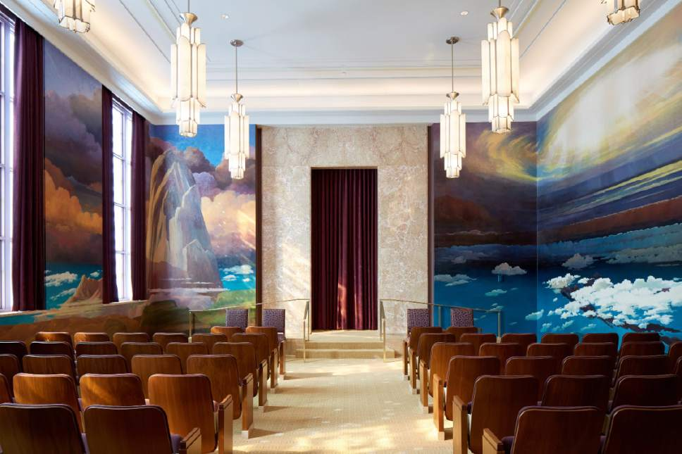 Photo courtesy LDS Church The creation room in the Idaho Falls Idaho Temple. Latter-day Saints are taught about the creation of the world in this room.