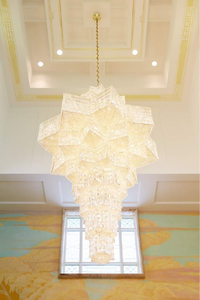 Photo courtesy LDS Church A chandelier in the celestial room of the Idaho Falls Idaho Temple.