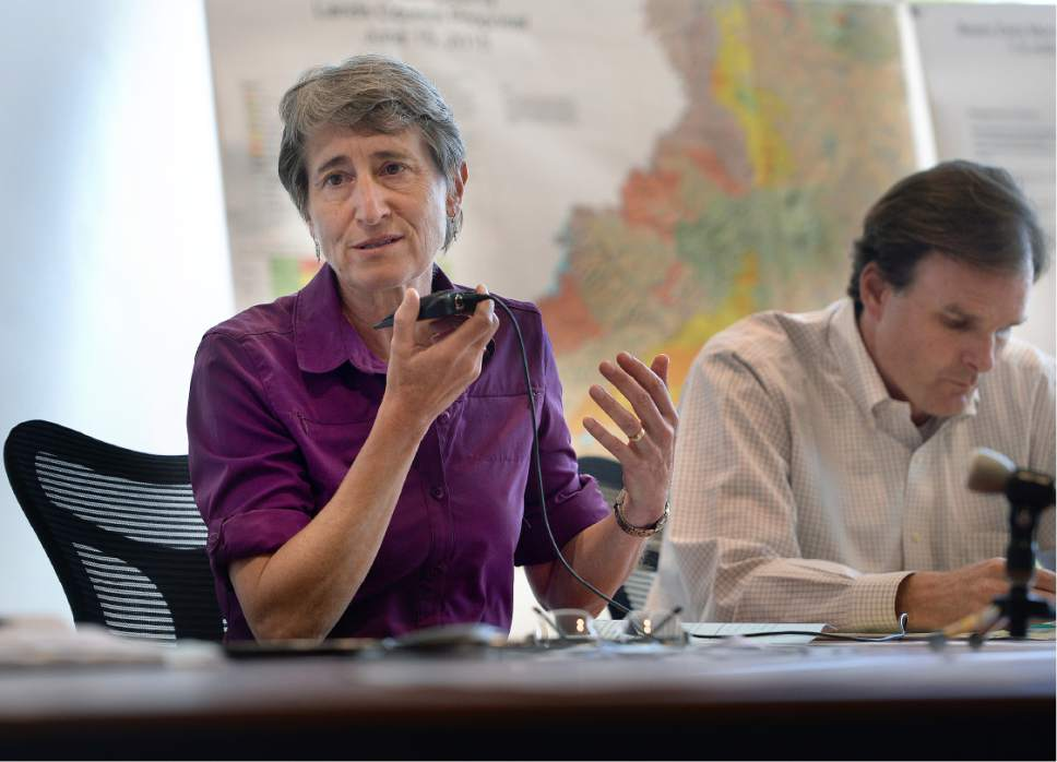 Scott Sommerdorf   |  The Salt Lake Tribune   Interior Secretary Sally Jewell speaks at a meeting with the San Juan County Commissioners in a public meeting in Monticello, Thursday, July 14, 2016. To the right is Undersecretary of Natural Resources and Environment and USDA, Robert Bonnie.