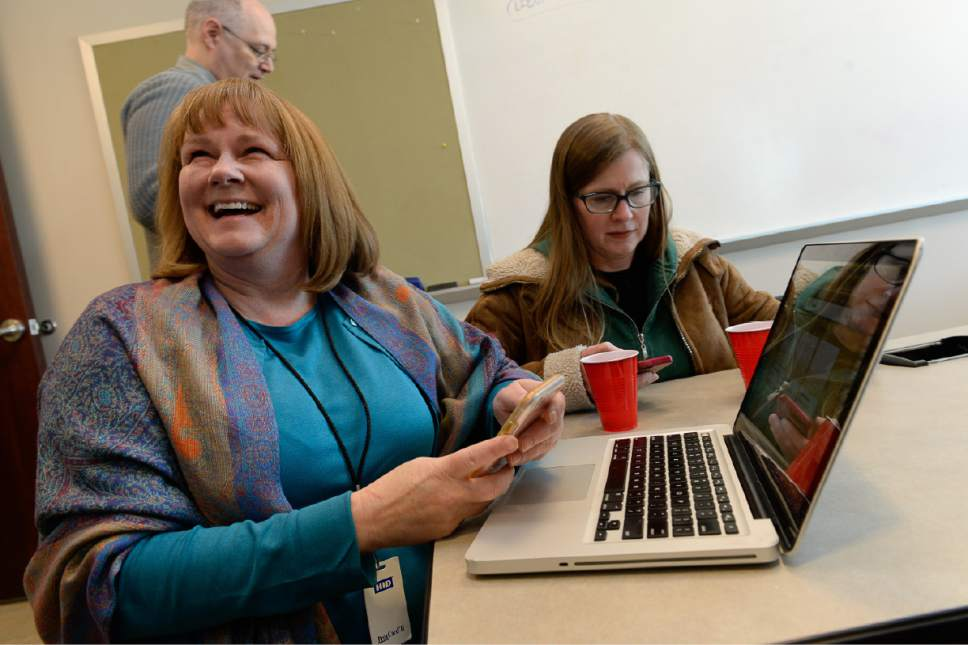 Francisco Kjolseth | The Salt Lake Tribune Managing Editor Sheila McCann celebrates alongside reporter Erin Alberty as The Salt Lake Tribune wins its second Pulitzer Prize in its nearly 150-year history Monday, earning the nod in local reporting for its groundbreaking investigation of rape at Utah colleges.