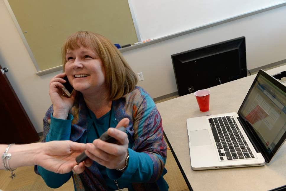Francisco Kjolseth | The Salt Lake Tribune Managing Editor Sheila McCann fields calls and celebrates as The Salt Lake Tribune wins its second Pulitzer Prize in its nearly 150-year history Monday, earning the nod in local reporting for its groundbreaking investigation of rape at Utah colleges.