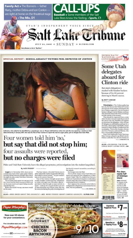 "These pages are part of The Salt Lake Tribune's 2017 Pulitzer Prize for Local Reporting. The judge's said the prize was awarded ""for a string of vivid reports revealing the perverse, punitive and cruel treatment given to sexual assault victims at Brigham Young University, one of Utahís most powerful institutions."""