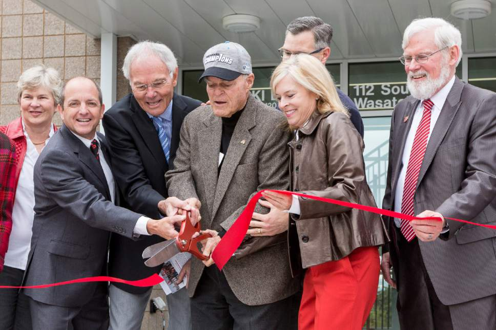 Mike Gillilan  |  Utah Athletics  Director of Skiing Kevin Sweeney, Jim Gaddis, Spence Eccles, Lisa Eccles, Utah President David W. Pershing cut the ribbon during the grand opening of the Spence Eccles Ski Team Building Wednesday, April 26, 2017.