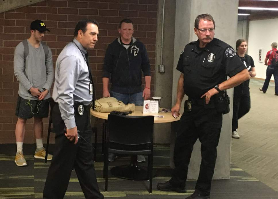 Courtesy Tyler Carpenter  |  UVU Review Police investigate an incident where a student's gun went off on campus on Tuesday.