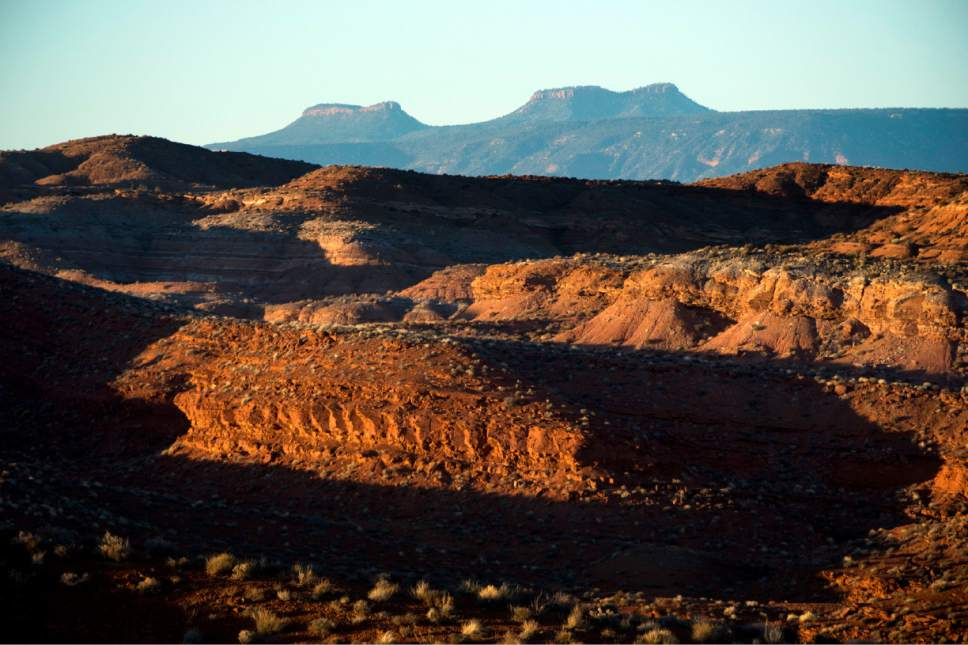 Rick Egan  |  Tribune file photo Bears Ears Buttes are located near Comb Ridge, a few miles from Bluff. The area is part of the newly designated Bears Ears National Monument.