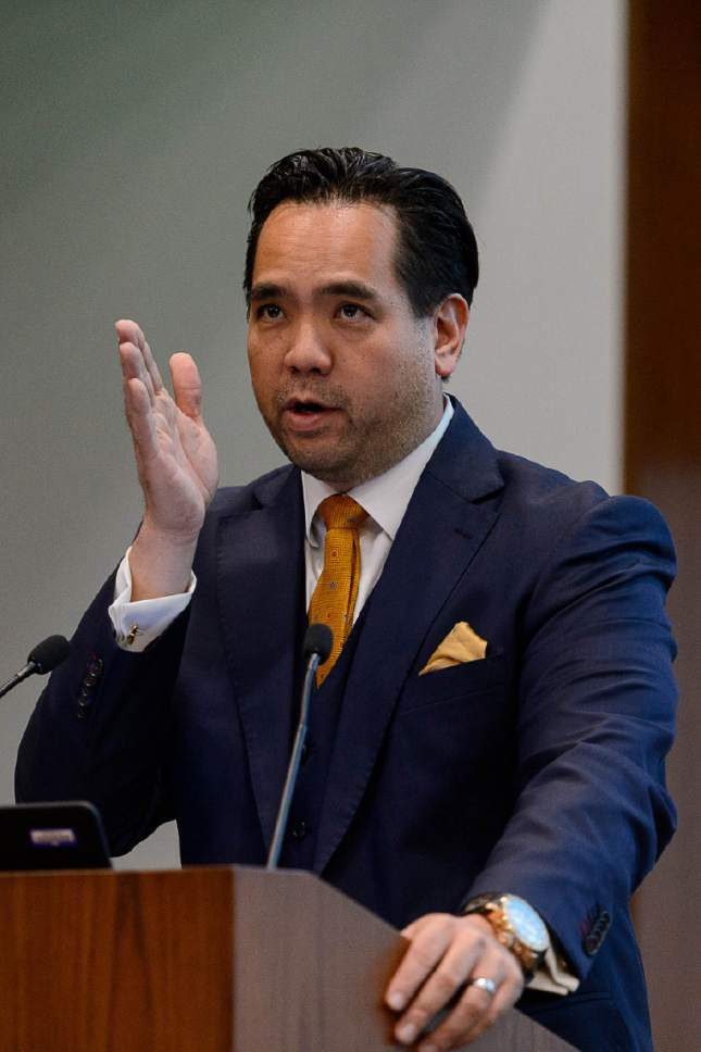 Trent Nelson  |  The Salt Lake Tribune Utah Attorney General Sean Reyes delivers the keynote address at a Financial Fraud Institute public event at the University of Utah in Salt Lake City on Wednesday in which citizens learned to recognize and avoid scams.