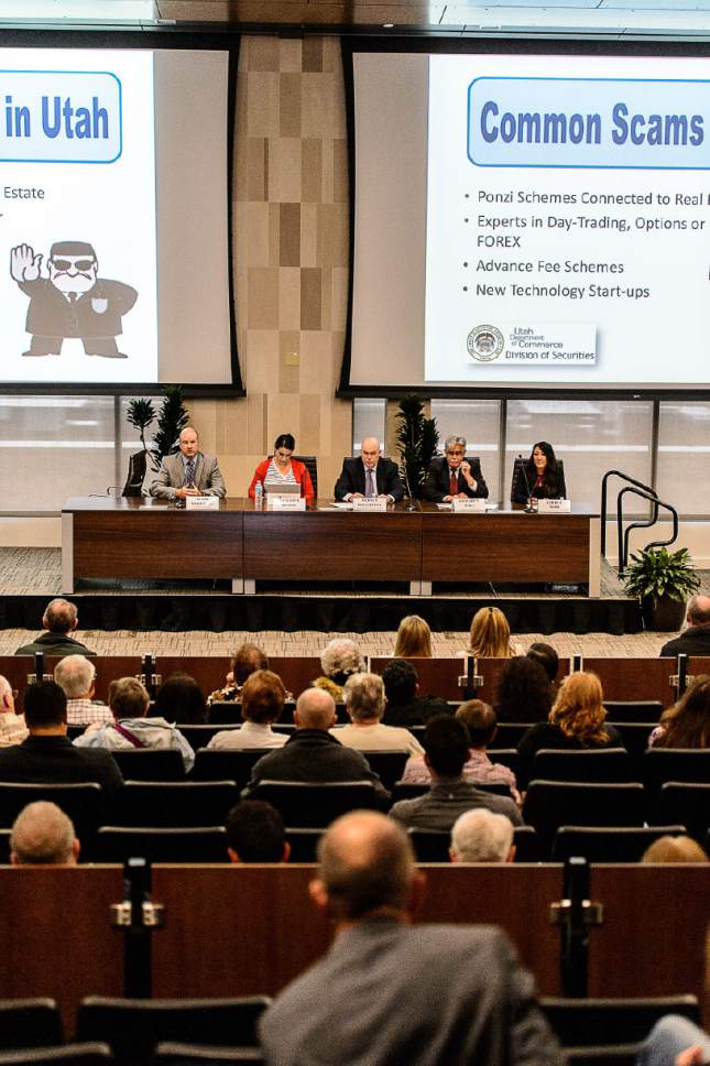 Trent Nelson  |  The Salt Lake Tribune A panel of experts at a Financial Fraud Institute public event teaching citizens to recognize and avoid scams. The event was held at the University of Utah in Salt Lake City, Wednesday April 26, 2017.