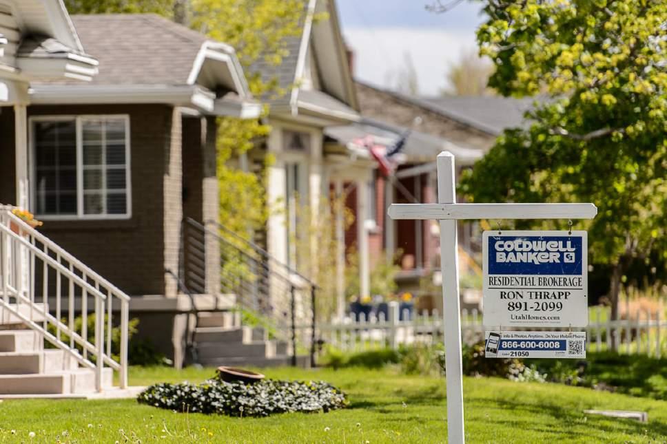 Trent Nelson  |  The Salt Lake Tribune A home for sale in Salt Lake City, Thursday April 27, 2017.