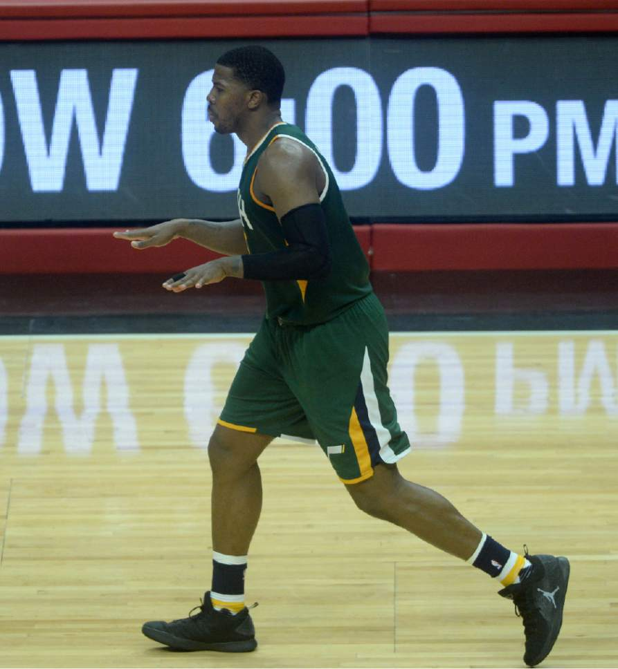 Steve Griffin  |  The Salt Lake Tribune   Utah Jazz forward Joe Johnson (6) holds his hands out as he runs up court after nailing a shot late in the fourth quarter in game 5 of the the Jazz versus Clippers NBA playoff game at the Staples Center in Los Angeles Tuesday April 25, 2017.