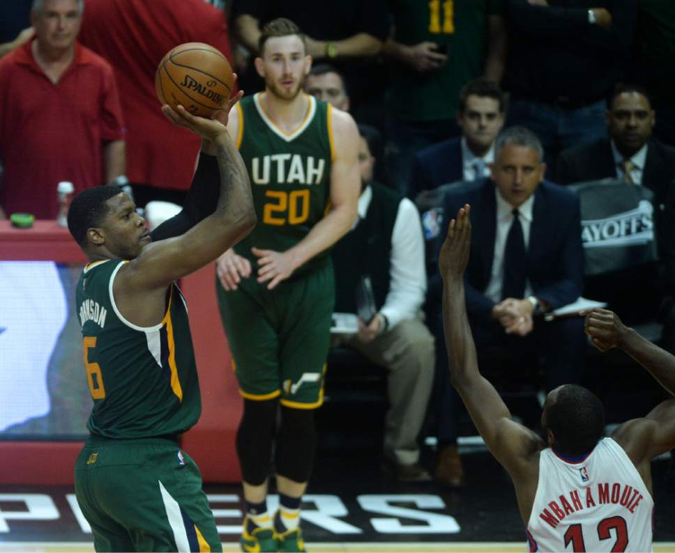 Steve Griffin  |  The Salt Lake Tribune   Utah Jazz forward Joe Johnson (6) nails a two pointer late in the fourth quarter during game 5 of the the Jazz versus Clippers NBA playoff game at the Staples Center in Los Angeles Tuesday April 25, 2017.