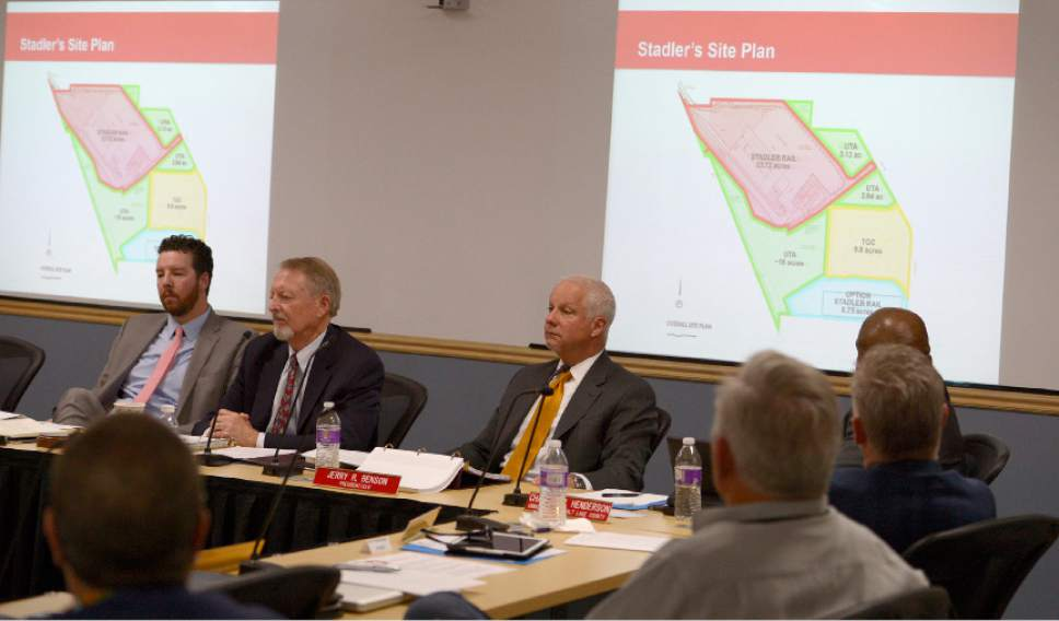 Leah Hogsten     The Salt Lake Tribune  The Utah Transit Authority Board discussed  logistics of the controversial UTA Clearfield land deal during their open meeting, Wednesday, April 26, 2017.