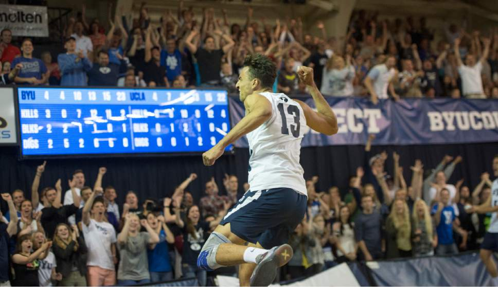 Rick Egan     The Salt Lake Tribune  Brigham Young Cougars Ben Patch (13) celebrate a big point, in the Mountain Pacific Sports Federation Volleyball Championship, in tournament action at the Smith Field House in Provo, Saturday, April 23, 2016.