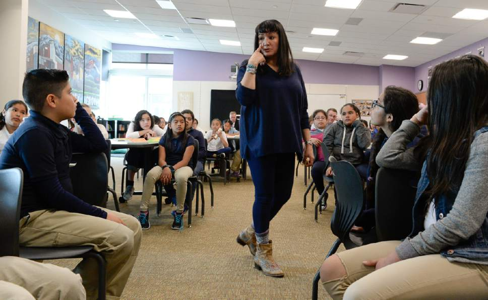 """Francisco Kjolseth   The Salt Lake Tribune Writer Sandra Cisneros visits Mountain View Elementary School to talk with 40 fifth graders on Wed. April 26, 2017, who have read her book, """"The House on Mango Street,"""" in both english and spanish as part of their dual immersion program. The program was part of the University of Utah Tanner Humanities Center."""