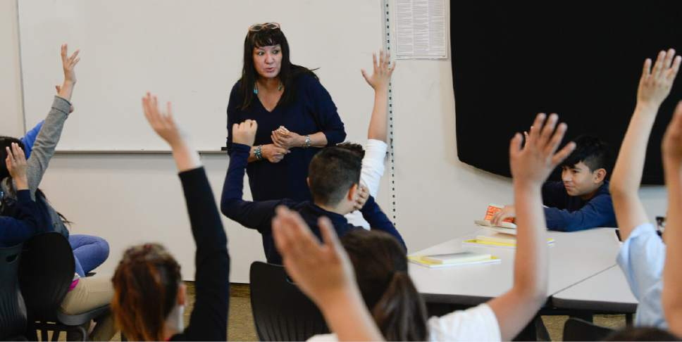 """Francisco Kjolseth   The Salt Lake Tribune Writer Sandra Cisneros takes questions from students as she visits Mountain View Elementary School on Wed. April 26, 2017, to talk with 40 fifth graders who have read her book, """"The House on Mango Street,"""" in both english and spanish as part of their dual immersion program. The program was part of the University of Utah Tanner Humanities Center."""