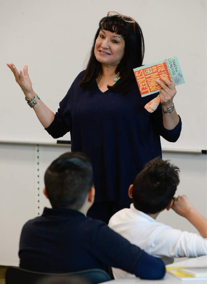 """Francisco Kjolseth   The Salt Lake Tribune Writer Sandra Cisneros visits Mountain View Elementary School on Wed. April 26, 2017, to talk with 40 fifth graders who have read her book, """"The House on Mango Street,"""" in both english and spanish as part of their dual immersion program. The program was part of the University of Utah Tanner Humanities Center."""