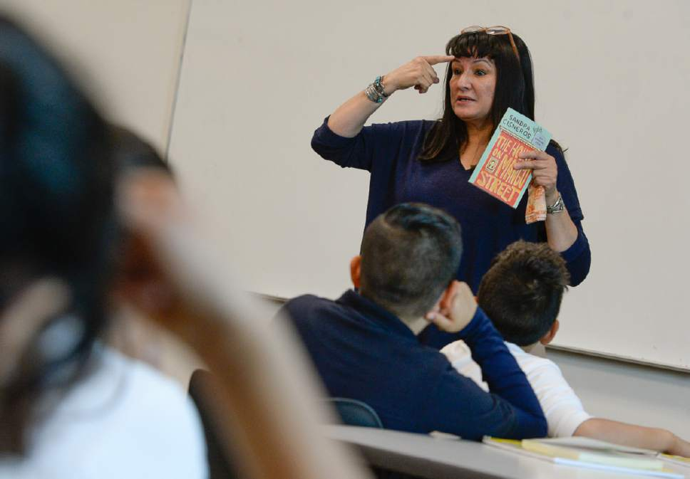 """Francisco Kjolseth   The Salt Lake Tribune Encouraging students to look at their third eye and find a goal to be passionate about, writer Sandra Cisneros visits Mountain View Elementary School on Wed. April 26, 2017, to talk with 40 fifth graders who have read her book, """"The House on Mango Street,"""" in both english and spanish as part of their dual immersion program. The program was part of the University of Utah Tanner Humanities Center."""