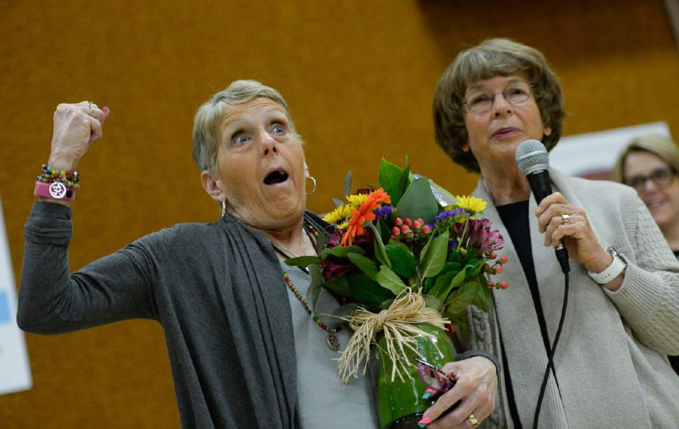 Francisco Kjolseth | The Salt Lake Tribune Joani Richardson, left, First grade teacher at Altara Elementary School in Sandy celebrates Friday as she is announced as the final winner of the 2017 Huntsman Awards for Excellence in Education during a school visit by Karen Huntsman, righ. Richardson, 64, who loves to teach reading, has been working with 1st graders for 42 years.