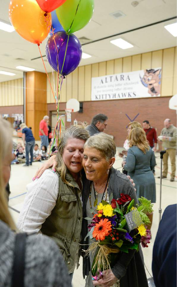 Francisco Kjolseth | The Salt Lake Tribune Joani Richardson, First grade teacher at Altara Elementary School in Sandy is embraced by student parent Jennifer To'a who has been very grateful to have her help her son with reading. Richardson had just been announced as the final winner of the 2017 Huntsman Awards for Excellence in Education on Friday, April 28, 2017.
