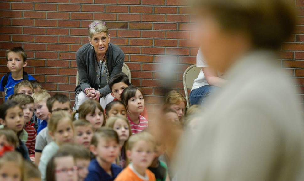 Francisco Kjolseth | The Salt Lake Tribune Joani Richardson, First grade teacher at Altara Elementary School in Sandy moments before being announced as the final winner of the 2017 Huntsman Awards for Excellence in Education during a school visit by Karen Huntsman on Friday, April 28, 2017. Richardson, 64, who loves to teach reading, has been working with 1st graders for 42 years.