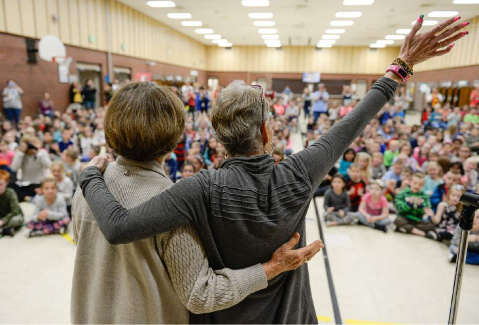 Francisco Kjolseth | The Salt Lake Tribune Joani Richardson, right, First grade teacher at Altara Elementary School in Sandy celebrates alongside Karen Huntsman after being announced as the final winner of the 2017 Huntsman Awards for Excellence in Education on Friday, April 28, 2017. Richardson, 64, who loves to teach reading, has been working with 1st graders for 42 years.