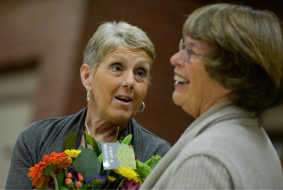 Francisco Kjolseth | The Salt Lake Tribune Joani Richardson, First grade teacher at Altara Elementary School in Sandy shares a laugh with Karen Huntsman after being announced as the final winner of the 2017 Huntsman Awards for Excellence in Education on Friday, April 28, 2017. Richardson, 64, who loves to teach reading, has been working with 1st graders for 42 years.
