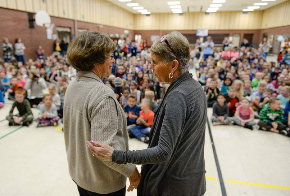 Francisco Kjolseth | The Salt Lake Tribune Joani Richardson, right, First grade teacher at Altara Elementary School in Sandy thanks Karen Huntsman after being announced as the final winner of the 2017 Huntsman Awards for Excellence in Education on Friday, April 28, 2017. Richardson, 64, who loves to teach reading, has been working with 1st graders for 42 years.