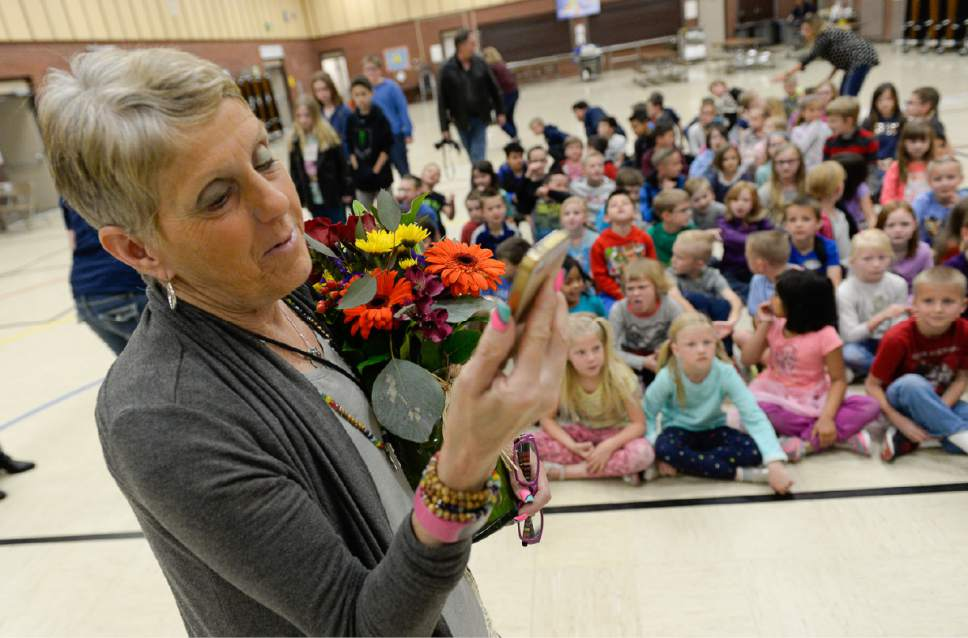Francisco Kjolseth | The Salt Lake Tribune Joani Richardson, First grade teacher at Altara Elementary School in Sandy speaks wth her daughter in North Carolina via live video after just being announced as the final winner of the 2017 Huntsman Awards for Excellence in Education on Friday, April 28, 2017.