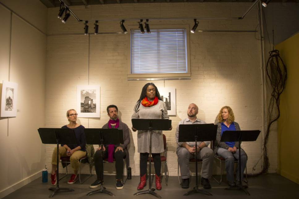 """The cast of """"Intersections II: Forging Family Through More Than DNA,"""" a staged reading April 28-29 that is a co-production of Art Access and Plan-B Theatre playing at Art Access in Salt Lake City. Courtesy of Rick Pollock"""