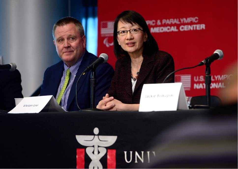 Scott Sommerdorf   |  The Salt Lake Tribune   Dr. Vivian Lee, Senior Vice President of the University of Utah Health Sciences, speaks during a press conference where leaders of the University of Utah, the United States Olympic Committee (USOC) and Salt Lake City joined with Olympic and Paralympic athletes to celebrate a special joint announcement, Wednesday, May 11, 2016.