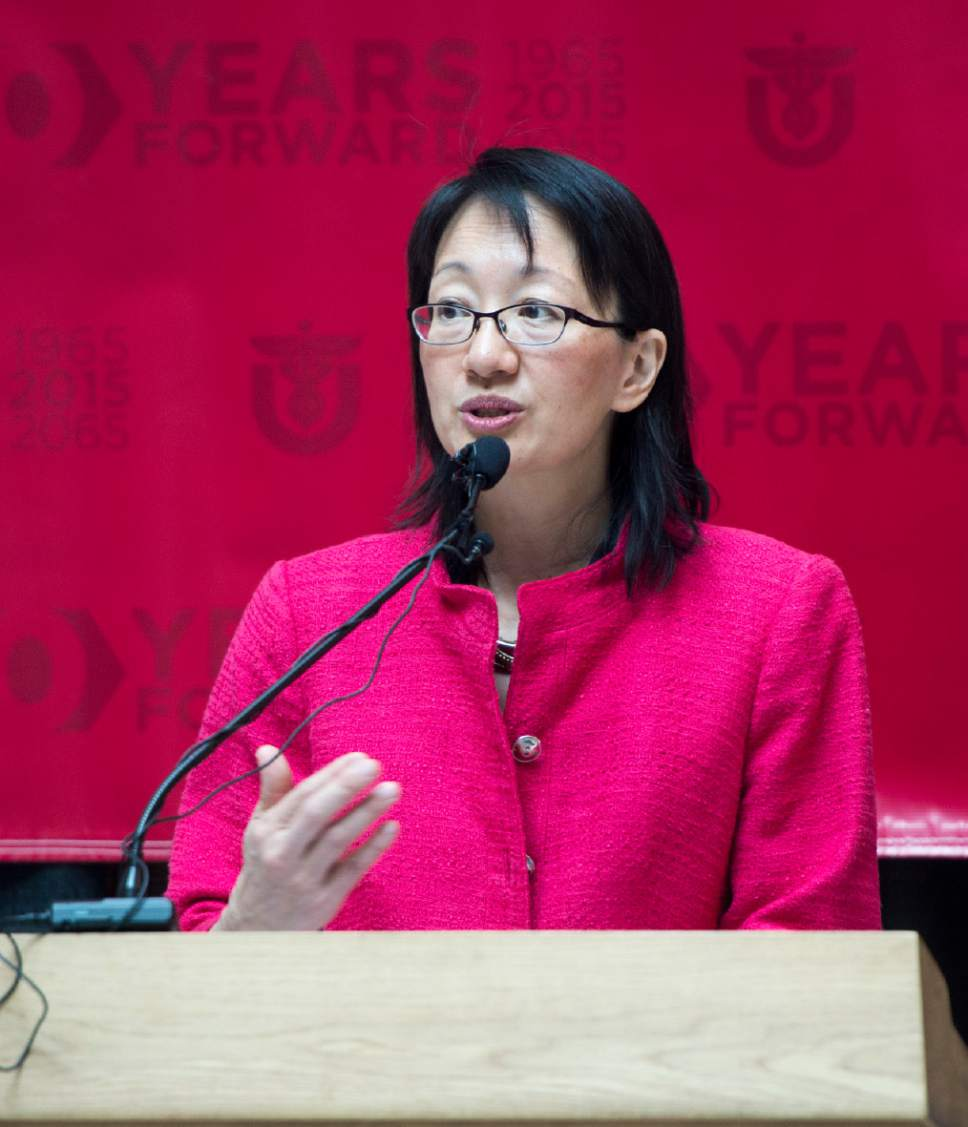 Rick Egan  |  Tribune file photo Vivian Lee, senior vice president for health sciences, says a few words at a press conference celebrating the 50 years of the University Hospital, at the University of Utah Hospital, Friday, July 10, 2015.